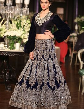 aishwarya rai in ghangra choli  | ... Deepika Padukone Blue Colour Velvet Lehenga Choli From Ram Leela