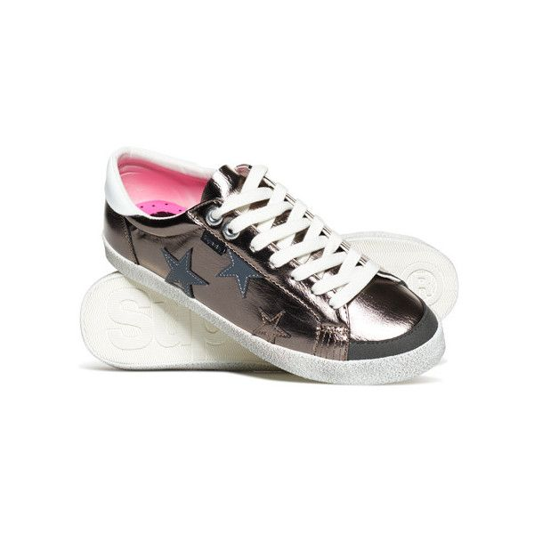 Superdry Super Sleek Logo Low Top Trainers ($55) ❤ liked on Polyvore featuring shoes, sneakers, dark grey, superdry, low profile sneakers, superdry shoes, dark grey shoes and low profile shoes
