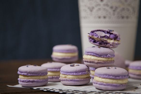 lavender macarons w/ pistachio lemon buttercream filling & a touch of honey | milk, chai & honey