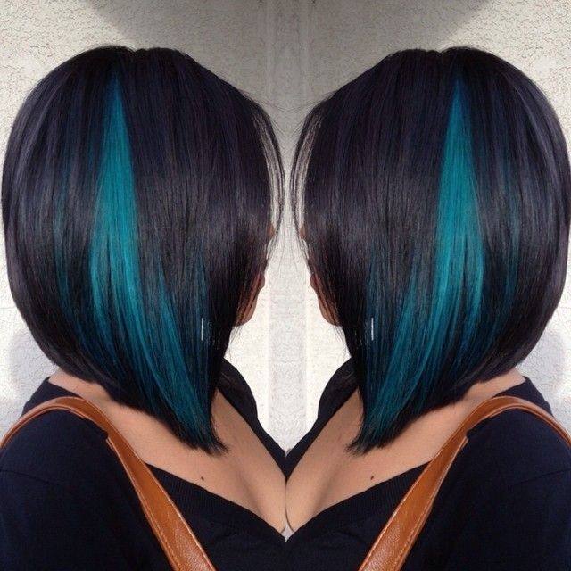 A-line haircut color with a touch of teal [ AqualineSaunas.com ] #beauty…