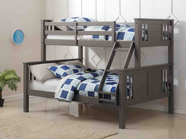 Update your kid's room with our gray twin over full bunk bed in a trendy slate grey finish. This bunk bed features solid pinewood construction with a convenient attached ladder. Materials: Sturdy soli