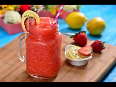 Limonada Rosa Frappé con Vodka | Coctel Frozen de Vodka con Fresas - YouTube
