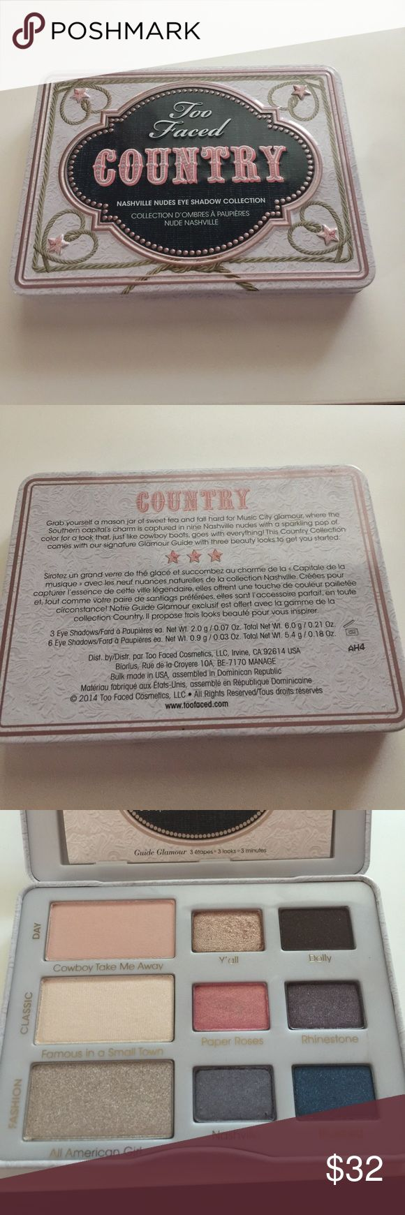 Too Faced Country Some colors have been lightly swatched. Y'all has been used on eye once. Doesn't come with box. I live in a smoke free home and own a dog. Too Faced Makeup Eyeshadow