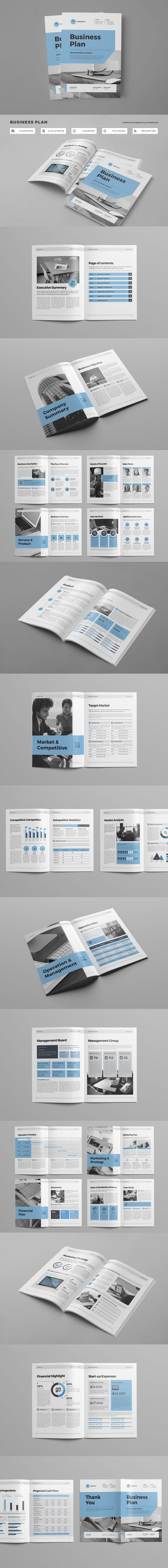 clean professional complete business plan brochure template indd with include a4 us letter size