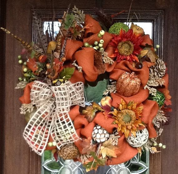 Fall SIENNA BURLAP and FEATHERS Wreath