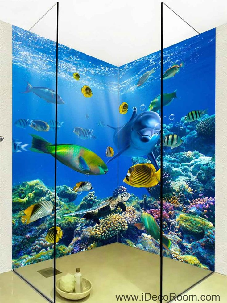 3D Wallpaper Dophin Fish Coral Sea Wall Murals Bathroom Decals Wall Art Print Home Office Decor