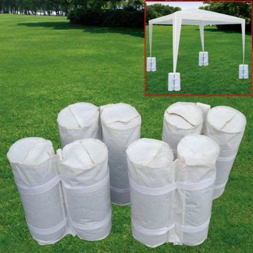 4 PCS outdoor CANOPY TENT WEIGHT SAND BAG ANCHOR KIT - Keep your canopy where you want it with this universal sand bag kit! Don't let your tent get carried away by the wind or jostled during backyard activities. These bags are so easy to use you'll wonder why you didn't get them sooner. Sold in sets of 4 PCS to easily accommodate any size tent.
