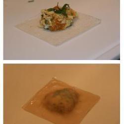 Roast pumpkin wonton ravioli with chorizo & thyme @ allrecipes.com.au