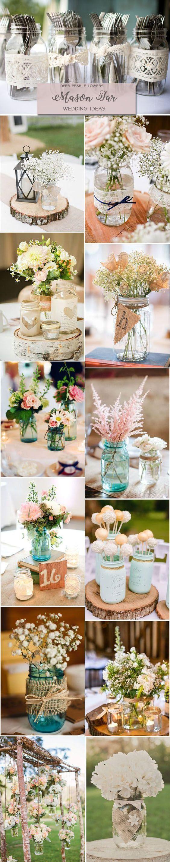 Mason jar crafts wedding - Rustic Country Wedding Ideas Mason Jar Wedding Centerpieces Decor Http