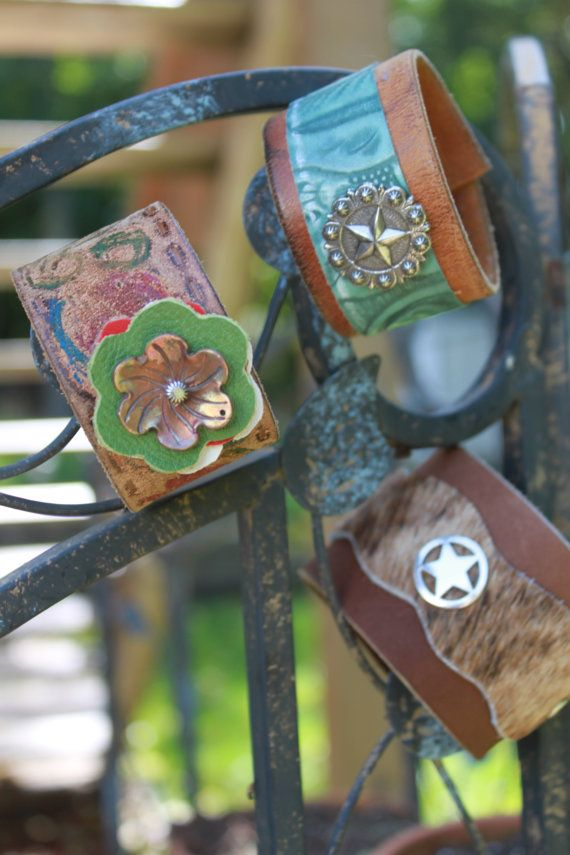 <3 leather cuffs contemporary mexican folk, boho, ethnic accessory for that layered leather jewellery look , frida kahlo style