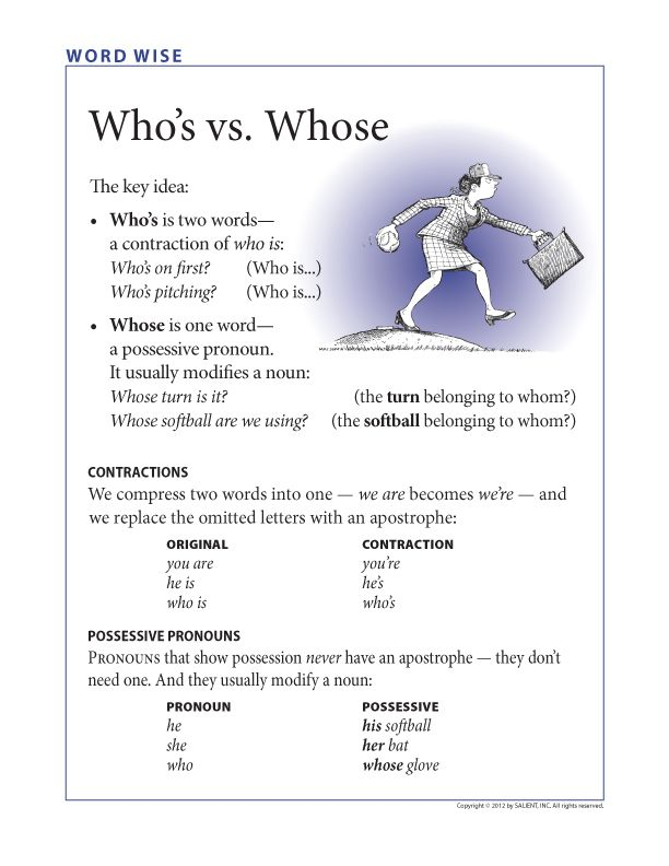 Free grammar poster: Who's vs. Whose -         Repinned by Chesapeake College Adult Ed. We offer free classes on the Eastern Shore of MD to help you earn your GED - H.S. Diploma or Learn English (ESL) .   For GED classes contact Danielle Thomas 410-829-6043 dthomas@chesapeke.edu  For ESL classes contact Karen Luceti - 410-443-1163  Kluceti@chesapeake.edu .  www.chesapeake.edu