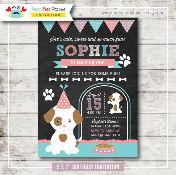 puppy birthday invitation  dog birthday invitation  puppy