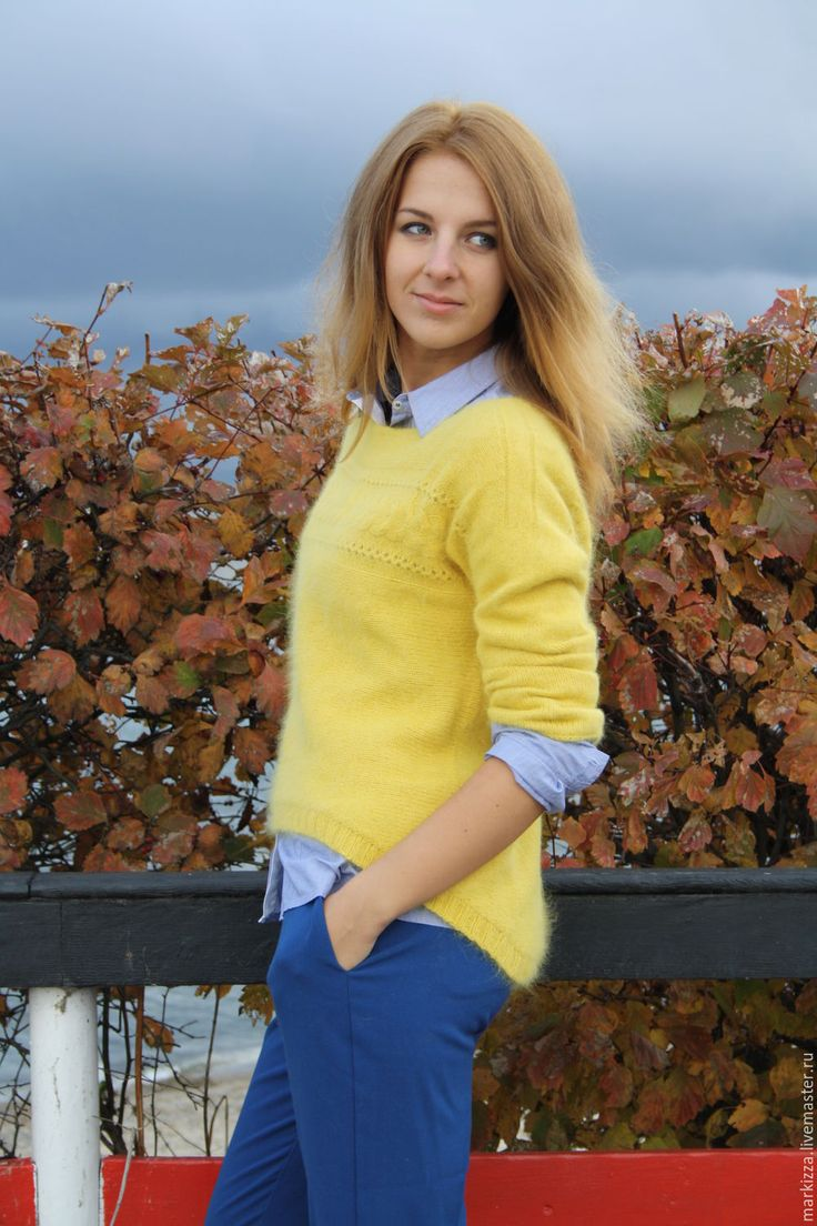 Купить Natsumi - желтый, однотонный, свитер вязаный, свитер, свитер женский, модный свитер