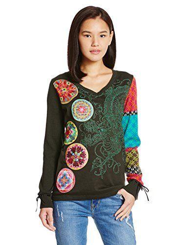 Desigual TS_V Japan, T-Shirt à Manches Longues Femme, Vert (Verde Botella 4009), 38 (Taille Fabricant: L): Tweet