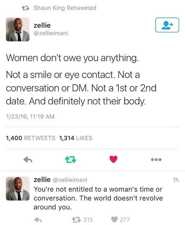 """A less jaded me would have cried if I'd seen it but by now I'm just kind of shut down from all the entitled """"men"""" that have harassed me and act bewildered when I just blow them off. I used to """"be nice"""" and """"polite"""" but after awhile and after a few bad experiences now I'm just a """"bitch"""" from the get-go and don't even really care anymore. I feel like part of me has died, like I had to give up happiness so I can look cold and empty to discourage men from talking to me."""