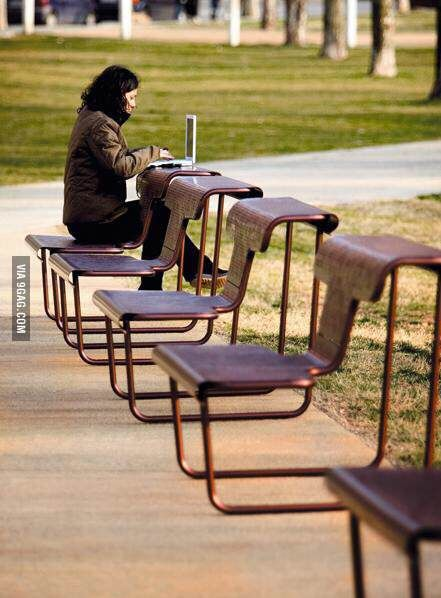 Combination desk and bench...omg i wish we had these in a park around here!