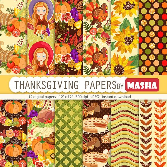 Thanksgiving papers: THANKSGIVING DIGITAL PAPERS by MashaStudio #thanksgiving #digital #paper #pumpkin #pattern #turkey #print #autumn #fall #horn #of #plenty #vegetables #background #acorn #corn #wheat #ear