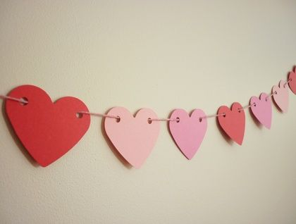 Pink and red heart shape bunting