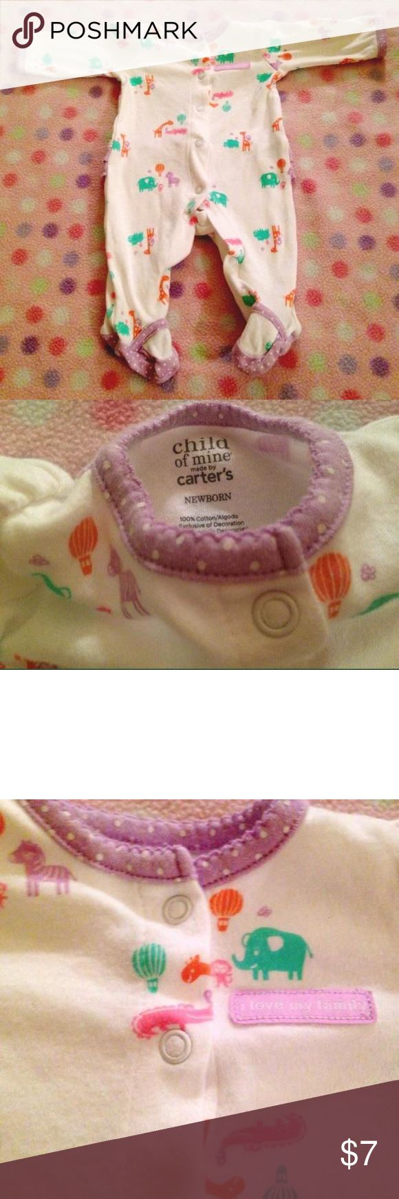 NB I love my family pjs I love my family animal white pajamas with purple ruffled bottoms size newborn Carters Dresses