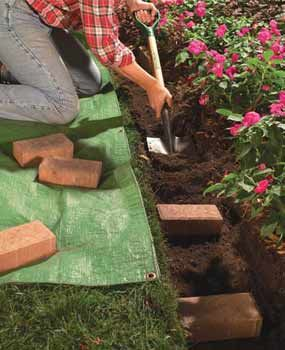How to install a brick border around landscaping