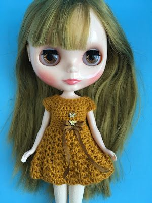 Pretty dress for Blythe doll by FuzziFlower  https://www.etsy.com/ca/listing/557297739/dress-for-blythe-doll-crochet-golden?ref=shop_home_active_21