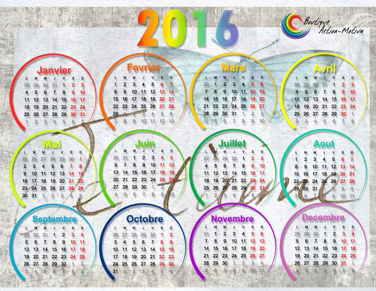 Calendrier 2016 format horizontal aimanté
