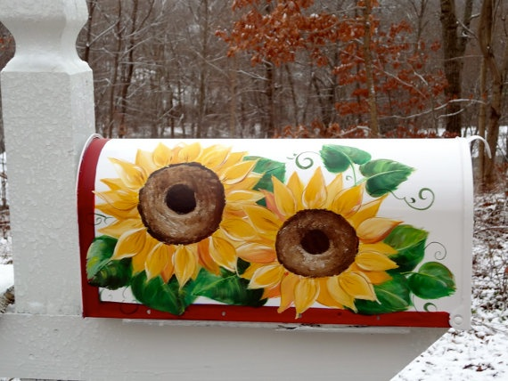 Hand Painted Mailbox with Yellow Sunflowers by DancingBrushes, $99.00