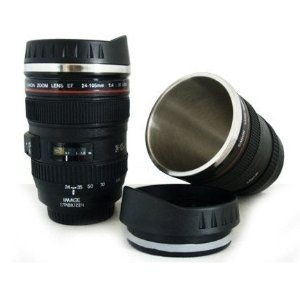 24-105mm Travel Coffee Mug / Cup / Thermos with Drinking Lid & Quality Stainless Steel Interior $30 Amazon