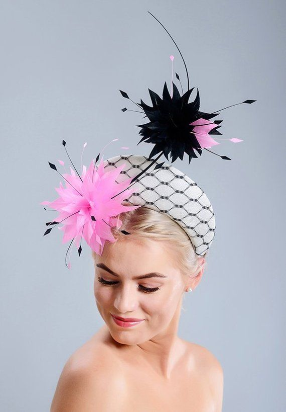 453e50ba Modern halo hat, black and white trendy halo headpiece with pink and black feather  flowers