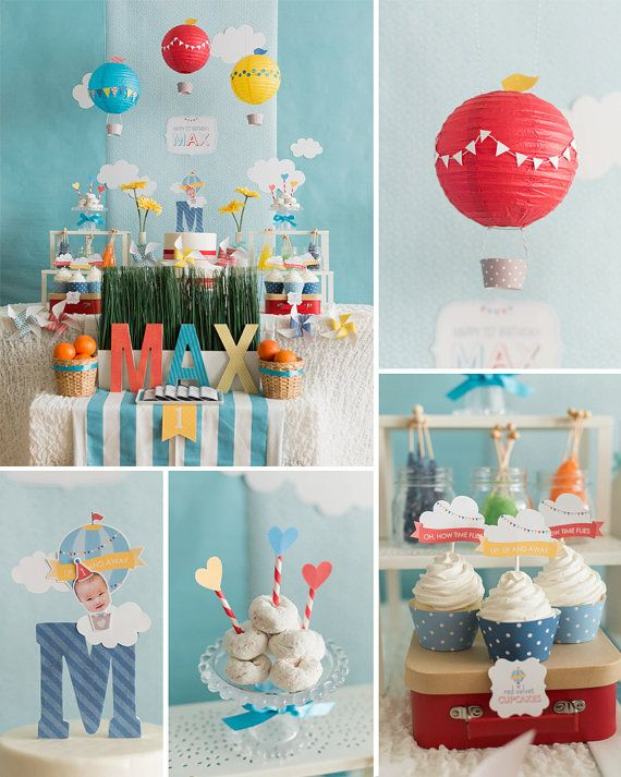 Hot Air Balloon Birthday, Hot Air Balloon Party, Your Custom Photo Design…