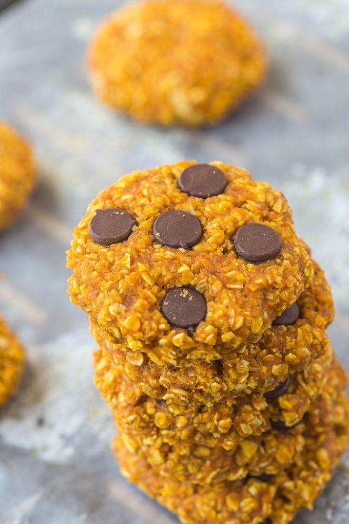 Saludable 3 Ingrediente sin harina calabaza Cookies- Chewy, Fácil, sólo tres ingredientes rápidas y, estas galletas no tienen mantequilla, harina y pueden ser completamente libre de azúcar!  {, opción vegana sin gluten}