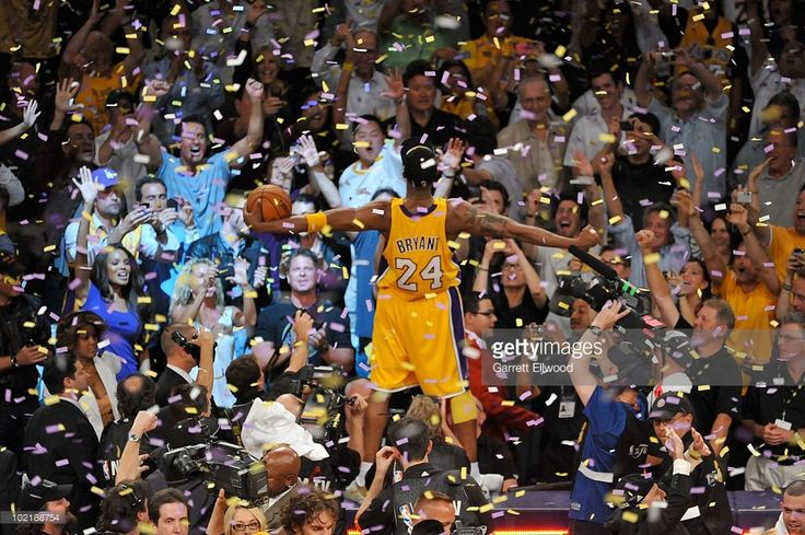 Kobe Bryant #24 of the Los Angeles Lakers celebrates after Game Seven of the 2010 NBA Finals on June 17, 2010 at Staples Center in Los Angeles, California.