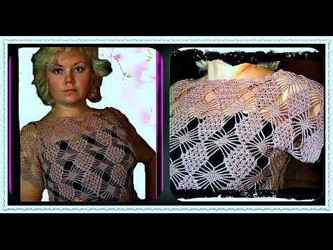 Ажурная кофточка ИЗ КВАДРАТНЫХ МОТИВОВ крючком ( 1 ЧАСТЬ) crochet sweater of square motifs - YouTube