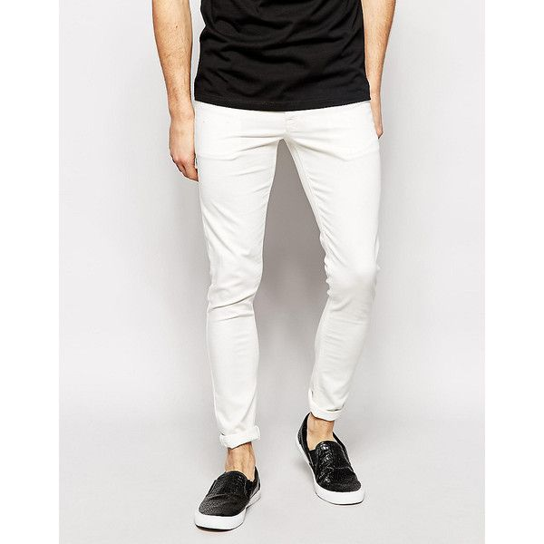 ASOS Extreme Super Skinny Jeans In White (€15) ❤ liked on Polyvore featuring men's fashion, men's clothing, men's jeans, white, mens white jeans, mens super skinny jeans, mens skinny fit jeans, mens skinny jeans and mens white skinny jeans