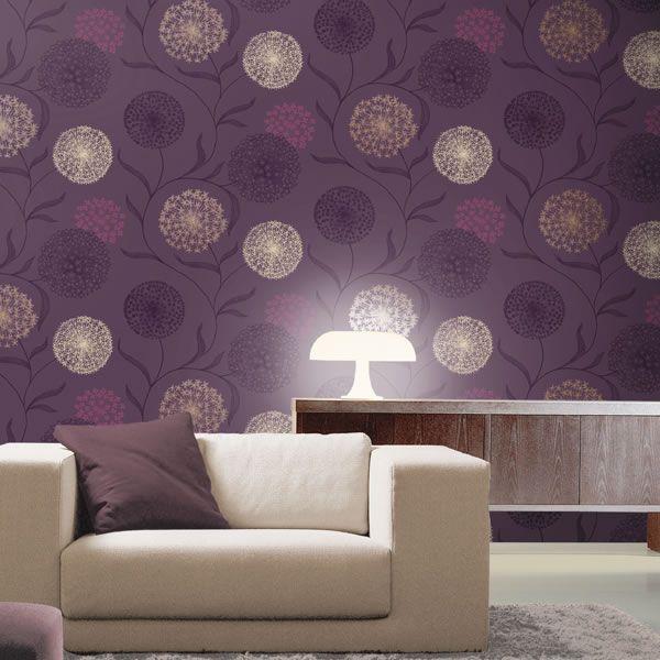 Home Decor: K2 Starburst Wallpaper Plum 10440