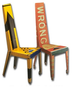 Street sign chairs.