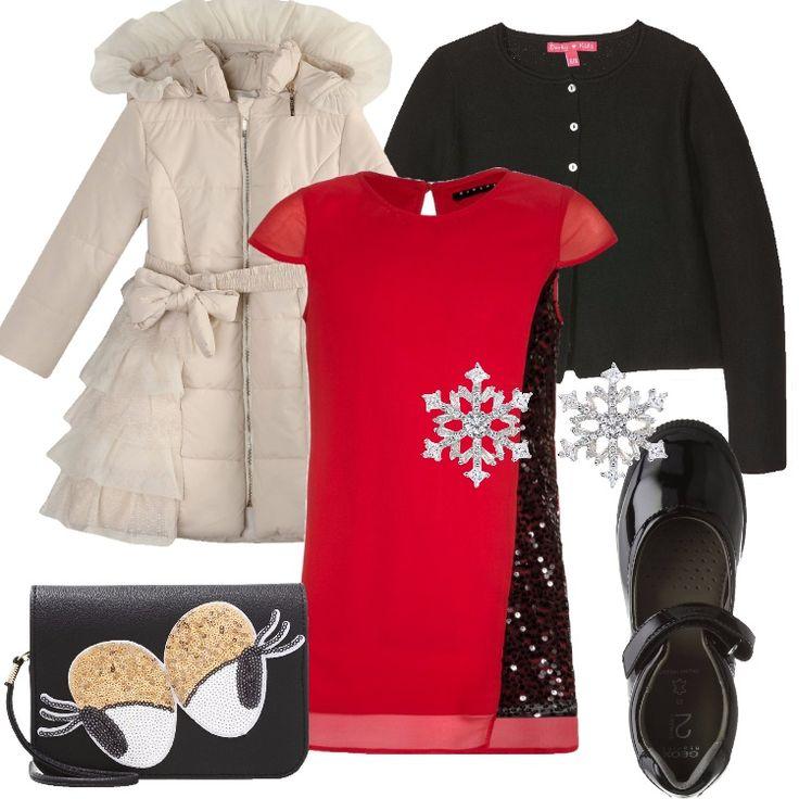 Un outfit per le feste pensato per una ragazzina di 14 anni: delizioso piumino avorio, cappuccio, zip, collo alla coreana, cintura con fiocco, motivo di volant, abbinato a vestito elegante rosso, applicazioni di paillettes nere, scollo tondo, lunghezza sopra al ginocchio. Cardigan nero, corto, scollo tondo, bottoni, ballerina nera, effetto lucido, cinturino, piccola pochette schwarz/gold/weiss, paillettes, orecchini a forma di fiocco di neve completano il look.