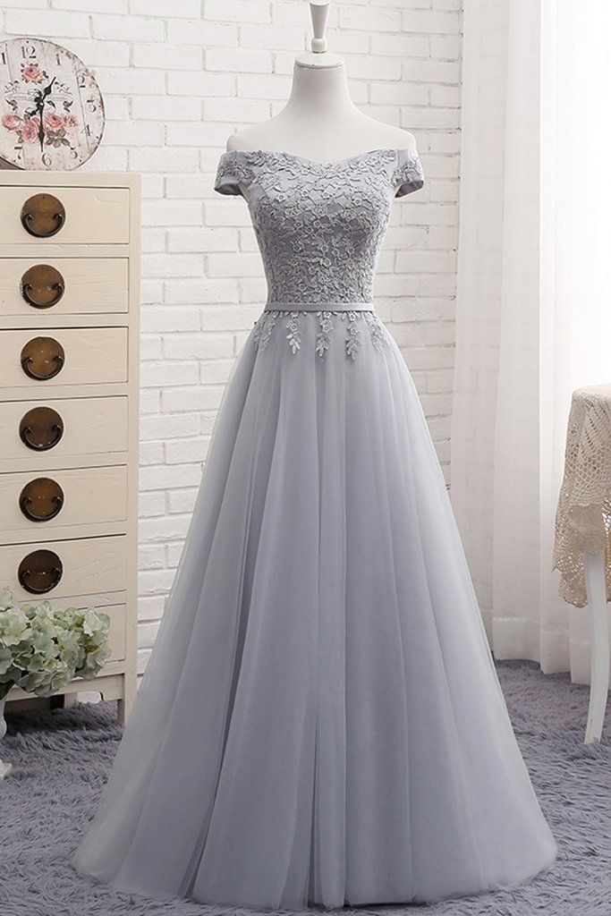 Gray tulle off shoulder long A-line senior prom dress, simple bridesmaid dress