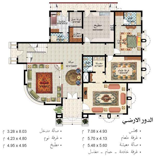 صورة الدور الارضي المرسال House Floor Design Home Design Floor Plans Architectural Floor Plans
