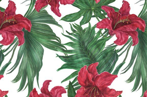 Tropical lilies pattern and elements by ramika on @creativemarket