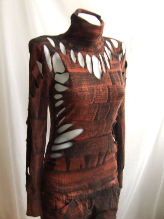 SteamPunk Top (post apocalyptic fashion rusty bleached cut ripped shredded ) via Etsy