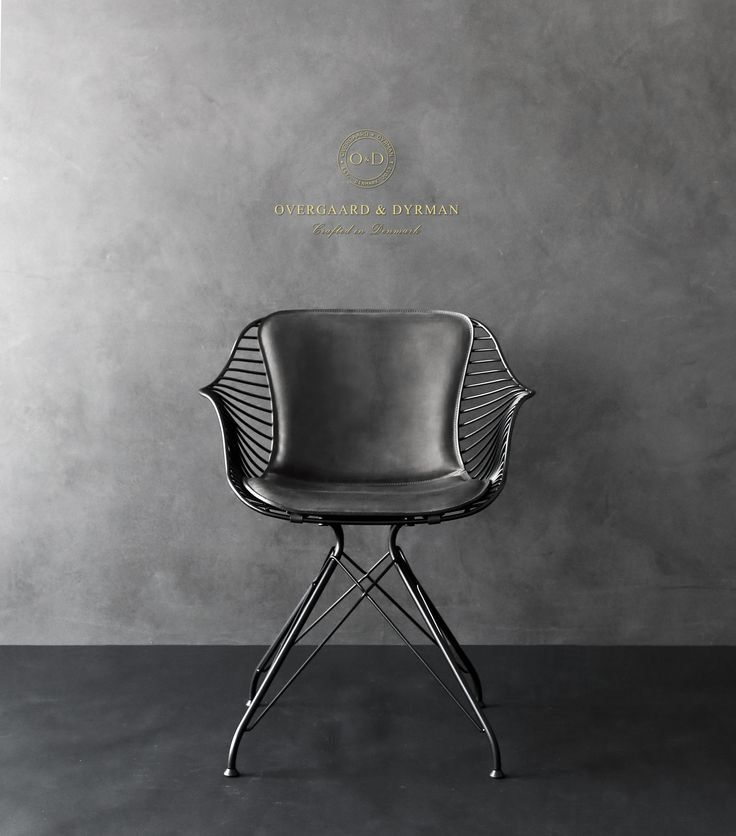Wire Dining Chair in matte grey aniline leather. Made by Overgaard & Dyrman - www.oandd.dk