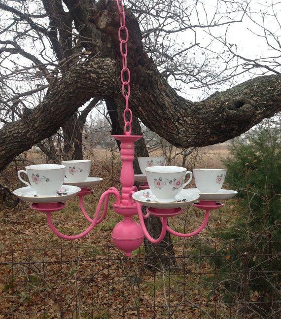 Hot Pink Chandelier Tea Cup Bird Feeder. For a quirky garden!
