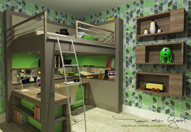 Projeto para quarto do menino, com paleta de cores neutras e verde limão.  Foi criado um mobiliário divertido, com destaque para a cama elevada e área de estudo na parte inferior, que juntamente com a madeira e o carpete, trazem aconchego ao ambiente.
