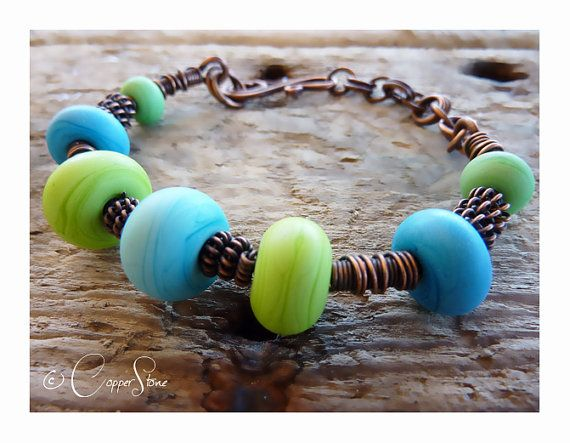 Springtime Handmade Glass Bead and Copper by TheCopperstoneForge 15€ #jewellery #jewelry #lampwork #wirework #handmade