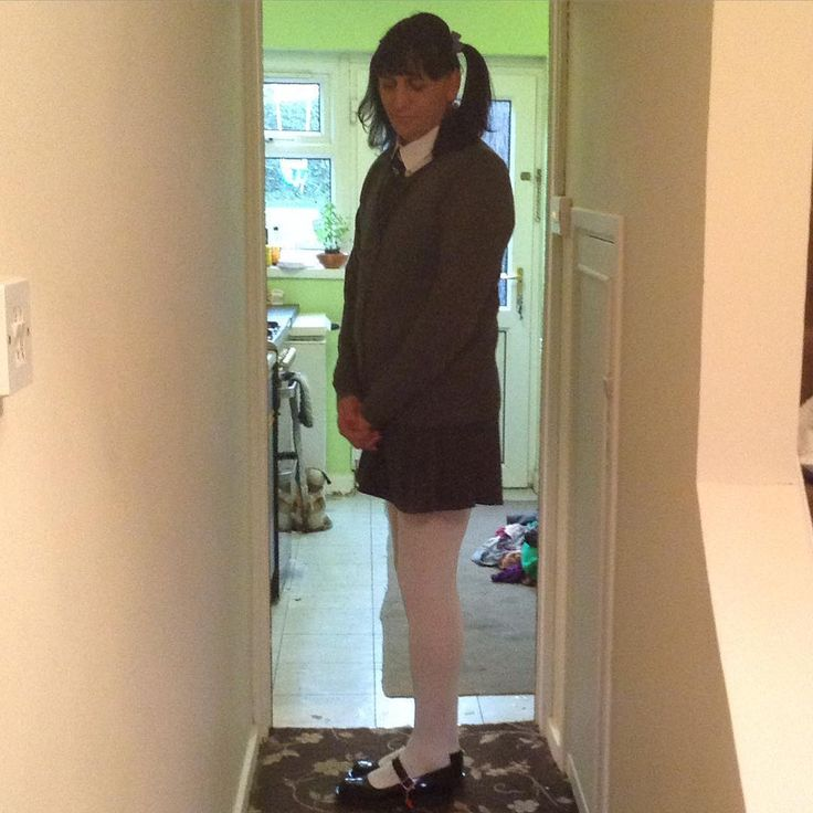 Anothe lovely pic of #sissy #Katie #kenneth in her #schoolpinaforedress wearing her #schoolgirl #blouse #schoolcardigan #whitetights and her girls #maryjaneshoes so cute