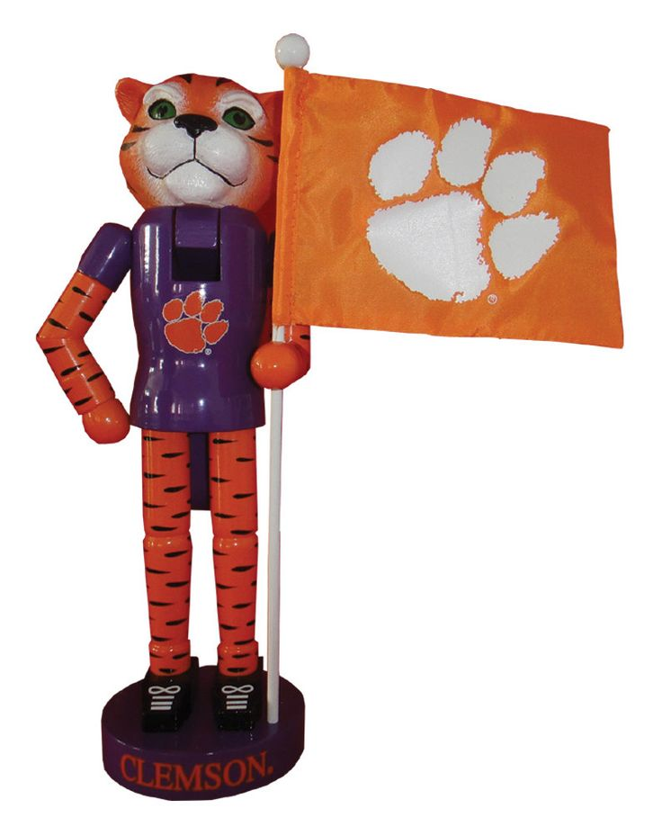 Clemson Mascot and Flag Nutcracker