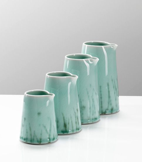 Ceramics by Chris Keenan at Studiopottery.co.uk - 2012. Celadon pourers, height 80-160mm