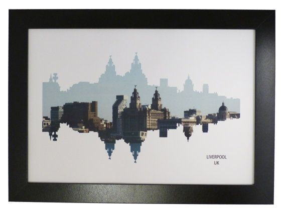 Liverpool Skyline Print with aerial city photo by DragonTreeStudio, $12.00