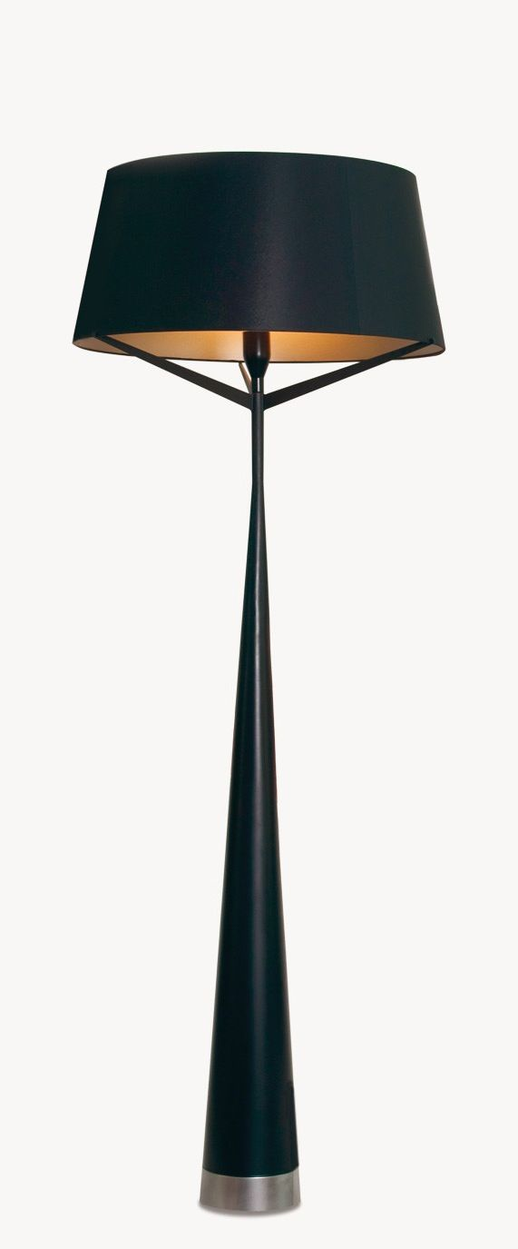 Floor Lamp ~ Slim black base topped with a black shade & gold lining....gorgeous!